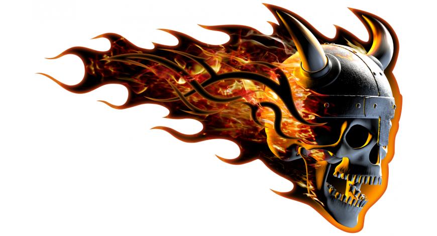 Burning horned skull oikeanpuoleinen