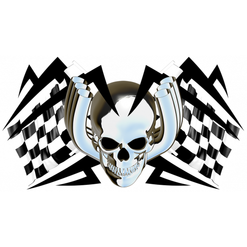 Racing flags chromed skull tarra